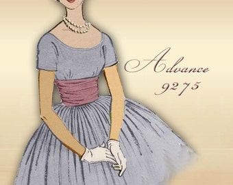 Advance 9275 1960s Dress Pattern Scoop Neckline Full Rockabilly Skirt Detailed Midriff