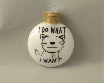 Middle Finger Cat Ornament