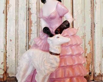 Vintage Chalkware or Plaster Mademoiselle Walking Her Dog, Figurine, Pink, White, Black, Hollywood Regency, Cottage Chic, Chippy, Paint