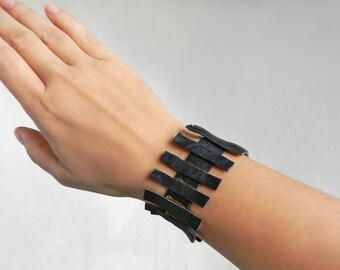 Black leather wrist cuff Gothic bracelet Wide cuff Armband Strap leather cuff bracelet Leather arm cuff Wristlet, Leather arm band Goth cuff
