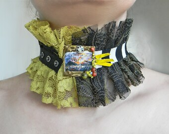 Lace ruffle collar Black-Lime Green-Chartreuse fabric choker High neck collar with Landscape print Textile necklace Eclectic Jewelry