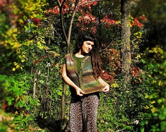 Falling*Leaves{+}Handmade Knit Sweater VEST!  Handspun Wool, Brilliant Fall Colors
