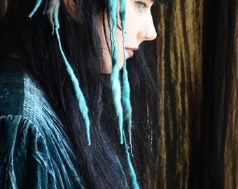 Rusalka MINI ELFLOCKS Clip-in Dreads Dreadlocks in Green & Grey for Cosplay, LARP, Tribal Dance, Festivals, Alt Fashion, Goth, Performance