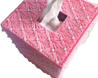 Pink Beaded Pearl Tissue Cover in Plastic Canvas
