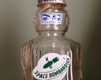 Vintage Galaxy Syrup Space Bombardier Glass Figural Bottle Circa 1950s Old Collectible Bank Planets Atomic Man Saturn Solar System Decor