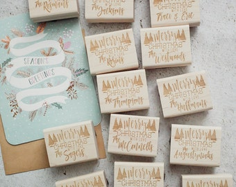 Christmas Rubber Stamp, Hand Lettered Stamp, Custom Calligraphy Stamp, Merry Christmas Stamp, Holiday Stamp, Seasons Greetings Stamp