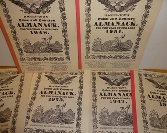Six Vintage Almanack Hager-Town Town and Country Hargerstown MD Printed by John Gruber 1947-1953