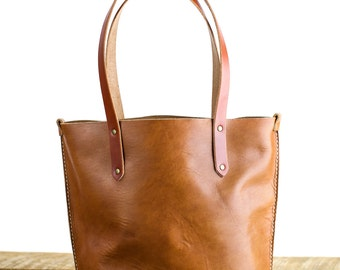 Handmade Leather Tote Bag // Horween leather in Natural Dublin // Brown leather Bag // Rustic Style handbag