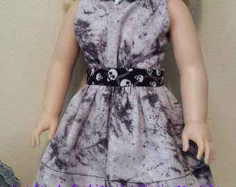 Skulls Handmade Country Girl Halloween Doll Dress for 14.5 inch Dolls by Kizzie Creations