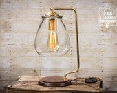 Glass Shade Edison Bulb Table Lamp - Brass