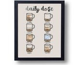 Coffee Chart, Coffee Illustration, Drink Chart, Watercolor Print, Coffee Cup, Coffee Mug, Wall Print, Kitchen Print, Instant Download, Cafe