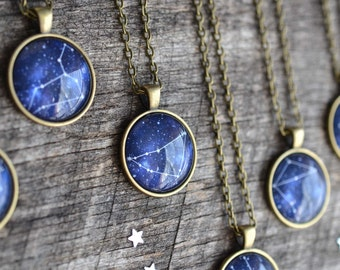 Zodiac Sign Necklace, Zodiac Necklace, Astrology Necklace, Gypsy Jewelry, Astrology Jewelry, Zodiac Jewelry, Constellation Necklace