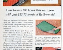 Rubbermaid Houseware Ad 1950's Kitchen Mat Dish Drainer Mat Pet Dish Original Vintage Wall Decor 1954 Wooster Ohio