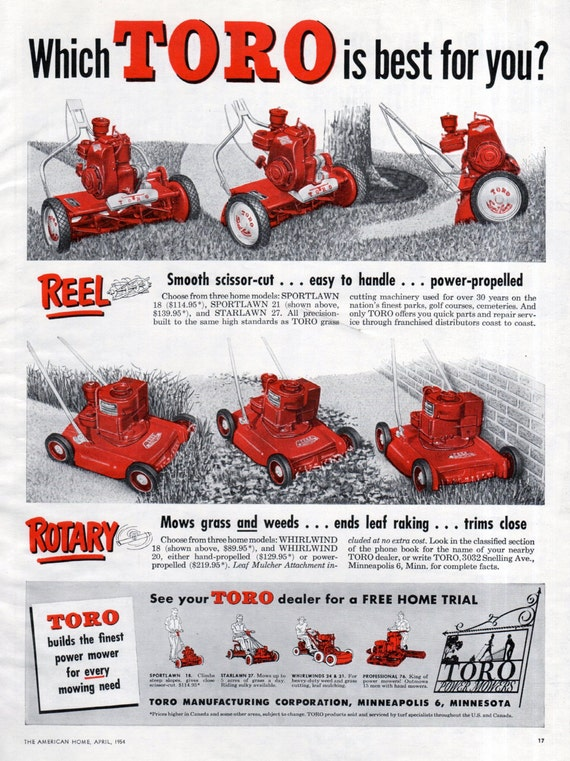 Items similar to toro lawn mower ad minneapolis 1950s 1954 red black white original vintage wall - Lawn mower for small spaces decor ...