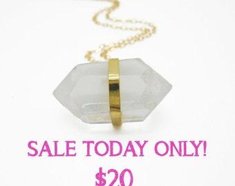 Crystal Necklace, Crystal Quartz Necklace, Quartz Necklace, Quartz Jewelry, Long Necklace Gold