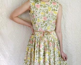 vintage 1950s pastel floral pleated dress