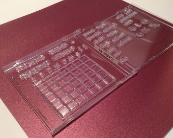 Stamp storage.  Clear stamp storage. CD, DVD cases