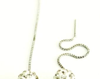 Long chain silver drop earings, Rhinestone Earrings, 8mm Crystal Shambhala ball Beads, Fireball Diamond Anti-allergic Earring