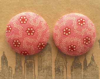 Button Earrings / Pink / Fabric Covered / Bulk Jewelry / Vintage Inspired / Sensitive Ears / Bridesmaids Gifts / Small Studs