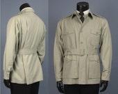 Vintage Safari Jacket -- Men's Tan Cotton Belted Safari Hunting Jacket - Gun and Tackle Shop