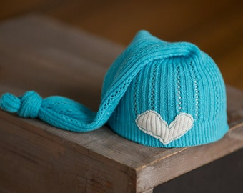 Upcycled Newborn Hat READY TO SHIP Aqua Blue Stocking Cap with Heart Photography Prop Knot Hat Newborn Boy Hat Newborn Girl Hat Neutral hat