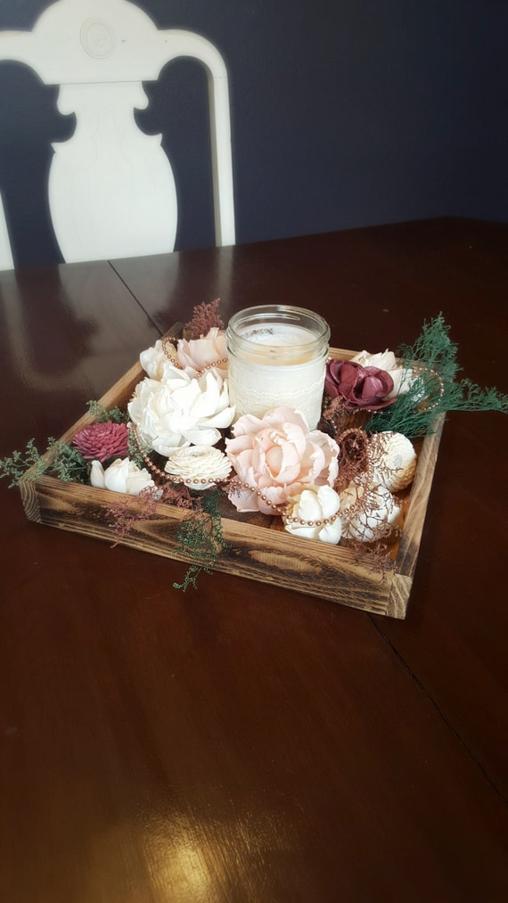 Wedding centerpiece wood tray candle sola flowers pearls and