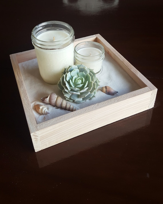 Square wood tray wedding centerpiece beach by