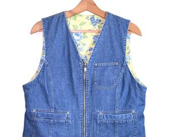 Vintage Denim Vest Jean Vest Reversible Denim Vest Floral Print Vest 90s Blue Denim Vest