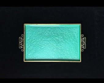 Moire Glaze, Enamel and Copper Tray by Kyes, Luminous Aqua Blue/Green, Hollywood Regency