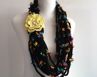 black flower hand crochet chain Infinity scarf with removable crochet flower - gift or for you