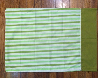 green Stripe pillowcase Muslin 70s bedding retro bedroom striped fabric green tones