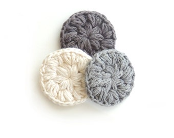 Crochet cotton scrubbies, Face Scrubbies, Crochet  Makeup Removers, cotton scrubby, Hostess gift Mini Washcloths Eco-friendly Set of 3