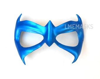 Nightwing leather mask First Night adults children Half Mask Bat Super Hero Halloween Blue Masquerade Carnival Party Superheroe Men Cosplay