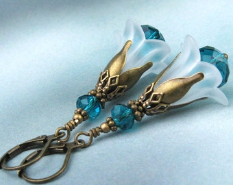Lucite Earrings, Victorian Earrings, Teal Crystal Beads, White Lucite Flowers, Frosted Petals, Brass Filigree, Teal Crystals, Handmade, Gift