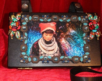 Gorgeous Handmade Purse Cigar Box Chinese Girl Custom Jewels Makeup Box Mirror Inside ~ OOAK Art by Patricia Woodlin