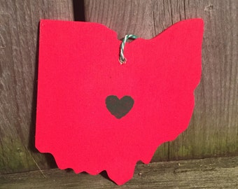 State of Ohio with heart over Columbus Ornament