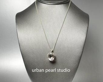 Quartz Crystal Pendant Necklace, Bridesmaid Gift, Maid of Honor Gift, Crystal Bridal Necklace, Oval Diamond Cut Crystal Necklace