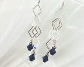 Blue Crystal Earrings Long Chain Earrings Beaded Jewelry Swarovski Crystal Earring Diamond Chain Earrings Sterling Silver Earrings
