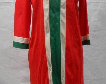 Vintage Nylon Lounge Wear Evening Wear Robe House Coat Night Gown in Orange Hollywood Regency