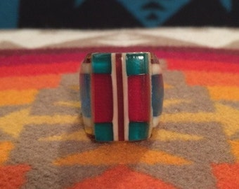 Vintage Celluloid Bakelite Folk Art Prison Ring by Bob Dodd (Size 6-1/2)