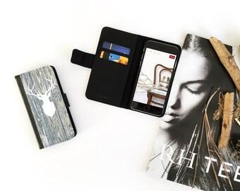 iPhone 6S Case Wallet, iPhone 6 Wallet Case Wood Print, iPhone 6s Case Native, Deer iPhone 6 Wallet Case, iPhone 6S Flip Wallet Case N26