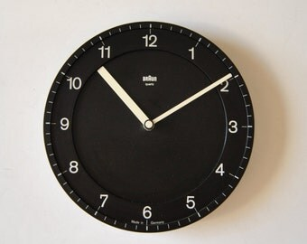 Braun ABK 30 Black White Modernist Wall Clock from Germany by Dietrich Lubs Black
