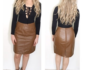 Vintage brown leather skirt tan leather high waist pencil skirt size 8