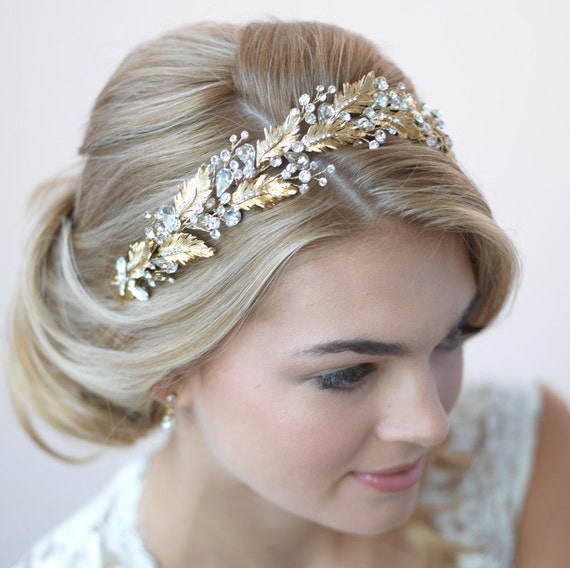 Floral Lace Headpiece For Wedding: Gold Leaf Bridal Headband Floral Wedding Headband Bride