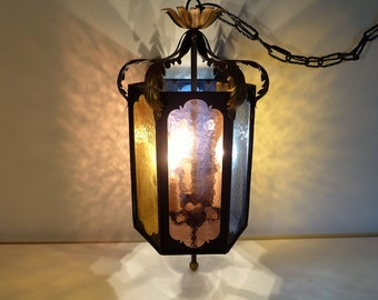 Mid Century Gothic Revival Pendant Lamp 6 Colored Glass Panel Chandelier Ornate Hanging Swag Lamp Italy Hollywood Regency