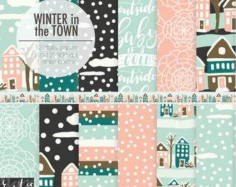 Winter in the Town digital paper pink, blue, black. House, street, snow weather, clouds to make planner stickers, cards, nursery wall art.