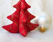 """Mini Christmas Tree Decoration - Red and Gold - Small 4"""" - 10 cm"""