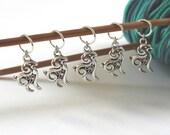 5 Stitch Marker Goat Sheep Set of Silver Stitchmarker Knitting Crochet Charms to Mark Stitches Stitch Marker Removeable Knit Gift