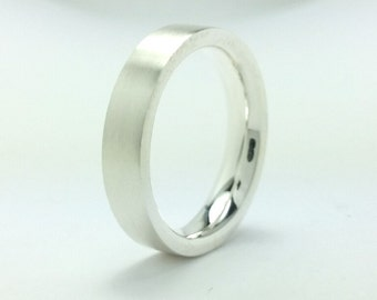 Sterling Silver 4mm Flat Wedding Band 925,Tungsten Ring,Comfort fit,His or Her Wedding Ring, Eco Friendly,Handmade,All Sizes One Price