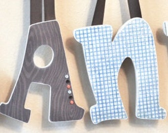 Custom Baby Boy Name, Wooden Wall Letters, Boy Nursery Decor, Personalized Baby Gift, Kids Wall Art, Wall Hanging,  The Rugged Pearl